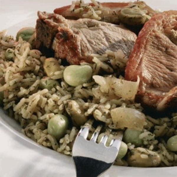 طبق الأرز بالفول الأخضر واللحم - وصفات أكل عربيه