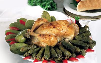 110 محشى ورق العنب والكوسة مع دجاج بالخلطة