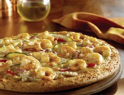 البيتزا الشهية بالجمبرى والفلفل الألوان
