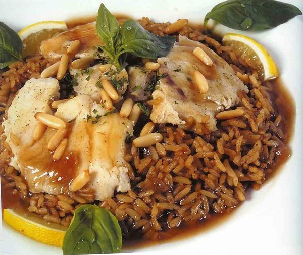 طبق الأرز بالبصل البنى الصيادية