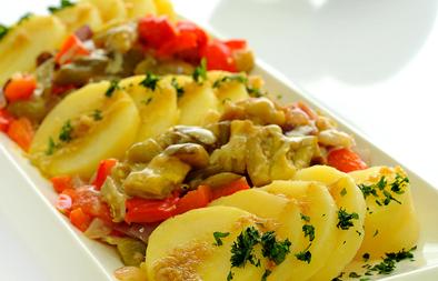 قالب البطاطس المسلوقة والباذنجان المشوى - وصفات أكل عربيه