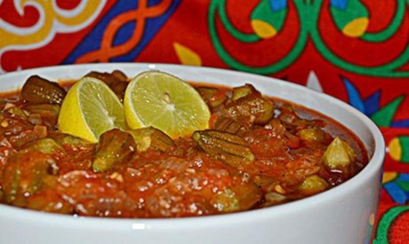 طاجن البامية باللحمة الضانى - وصفات أكل عربيه